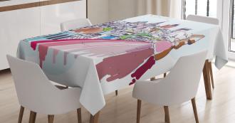 Aerial Scenery Urban Tablecloth