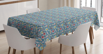 Doodle Forest Flowers Tablecloth