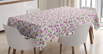Aquarelle Style Flowers Tablecloth