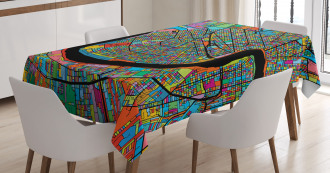 Colorful City Map Tablecloth
