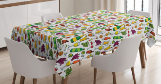 Doodle Party Beverages Tablecloth