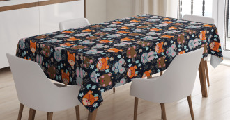 Bunny Fox with Glasses Tablecloth
