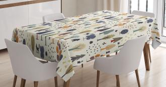 Woodland Trees Animals Tablecloth