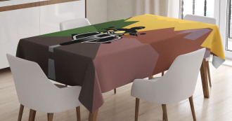 Rider in Mountains Tablecloth