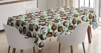 Coconuts Leaves Sketch Tablecloth