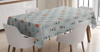 Xmas Season Snowflakes Tablecloth