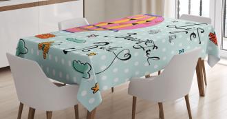 Air Balloon Polka Dots Text Tablecloth