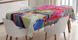 Funky Streets Sketch Trees Tablecloth