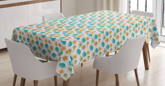Sun and Clouds with Outlines Tablecloth