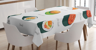 Exotic Japanese Cuisine Icons Tablecloth