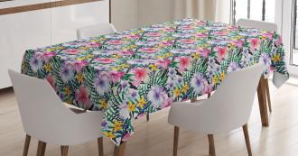 Tropic Hibiscus Plumeria Tablecloth