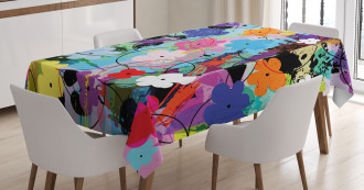 Abstract Floral Artwork Tablecloth
