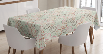 Retro Style Monstera Leaf Tablecloth