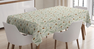 Fir Cones Botany Branches Tablecloth