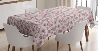 Sketchy Flowers on Soft Pink Tablecloth