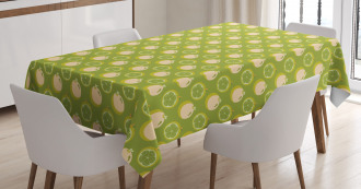 Sliced Fresh Fruits Pattern Tablecloth