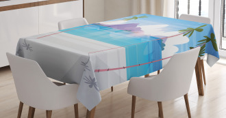 Summer Seaside with Palms Tablecloth