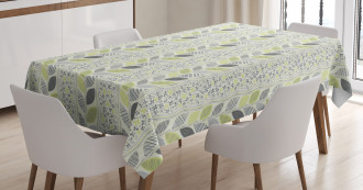 Stripes Sketched Leaves Tablecloth