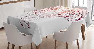 Stylized Drawn Elephant Head Tablecloth
