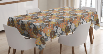 Variety of Happy Kitten Faces Tablecloth