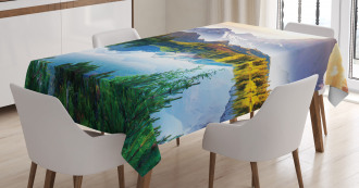 Winter Mountains Morning Tablecloth