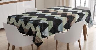 Retro Art Black Chevron Tablecloth