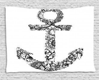 Anchor Shape Flower Wide Tapestry