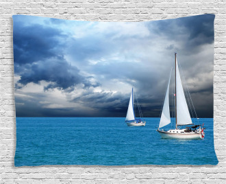 Sailing After Storm Clouds Wide Tapestry