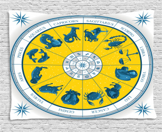 Zodiac Natal Chart Wide Tapestry