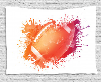 Rugby Ball Sport Splash Wide Tapestry