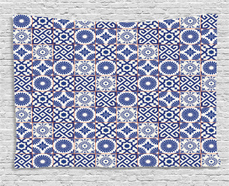Old Retro Artful Tiles Wide Tapestry