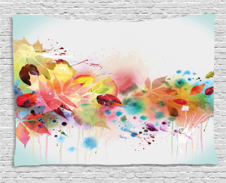 Psychedelic Autumn Season Wide Tapestry
