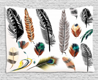 Bird Feather Retro Vibrant Wide Tapestry