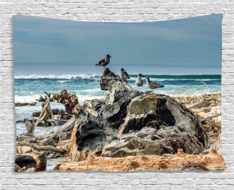 Driftwood Shore Seagull Wide Tapestry