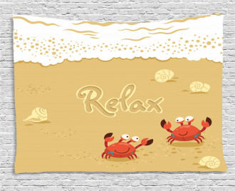 Card with Cute Crabs Sea Wide Tapestry