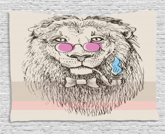 Lion Head Hipster Style Wide Tapestry