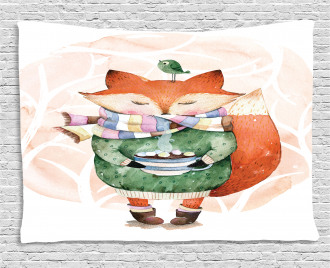 Cute Lİttle Fox and Bird Wide Tapestry