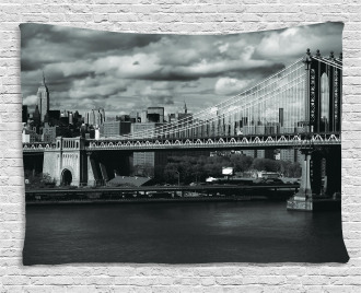 NYC in Black and White Wide Tapestry