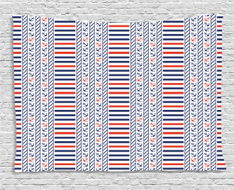Marine Pattern Stripes Wide Tapestry