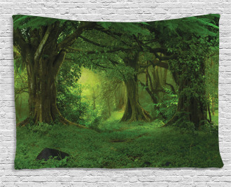 Tropical Jungle Trees Wide Tapestry