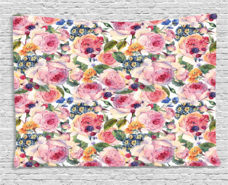 Shabby Chic Rose Floral Wide Tapestry