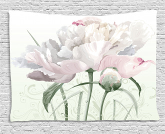 Pink Rose Tulip Abstract Wide Tapestry
