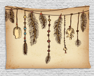 Bohemian Feathers Wide Tapestry