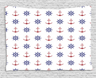 Anchors and Ship Wheels Wide Tapestry