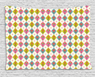 Geometric Tulips Pattern Wide Tapestry
