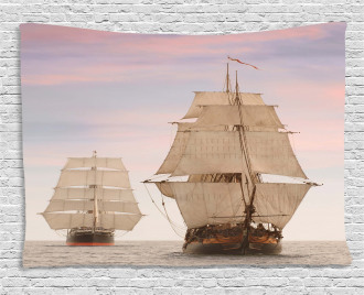 Wooden Sailing Ship Waves Wide Tapestry