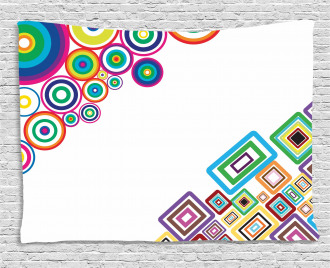 Colored Rectangle Form Wide Tapestry