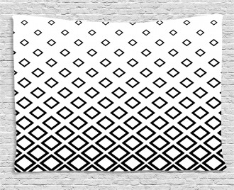 Square Pattern Art Wide Tapestry