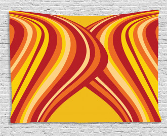 Wavy Stripes Abstract Wide Tapestry