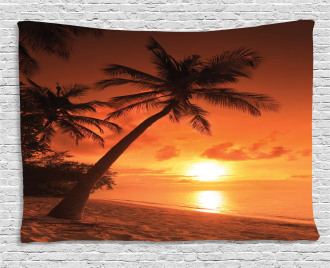 Twilight Coconut Palms Wide Tapestry